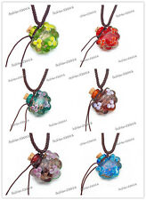 6pcs Murano Glass  oil ashes urn bottle cork pendant vial Necklace Adjustable