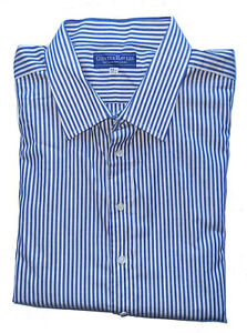 Men's GIEVES & HAWKES No.1 Savile Row Blue/White LONG Striped Shirt Size 17.5/44
