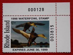 CLEARANCE: (RI10) 1998 Rhode Island Waterfowl Stamp (plate # single)