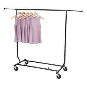 Clothing Rack Rolling Black Folding Single Bar Rail Salesman Garment Display