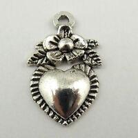 8pcs tibetan silver color 22x19mm floral cross design  charms EF2210