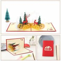 3D Up Greeting Cards Christmas Holiday Handmade Postcard Xmas Gift Card Cute