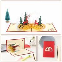 3D Up Greeting Cards Christmas Holiday Handmade Postcard Xmas Gift Card Cute