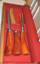 Art Deco Sheffield  Bakelite Handle Carving Set Knife Fork Sharpening Rod