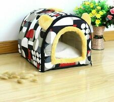 Comfortable Warm House Cave Lovely Bow Design Winter Kennel Fleece Soft Nest Bed