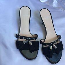 Stuart Weitzman Black Square Toe Kitten Heel Slip On Sandals Women Size 7M