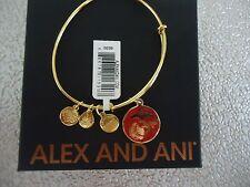 Finish Bangle New W/ Tag Card & Box Alex and Ani Us Marine Corps Shiny Gold