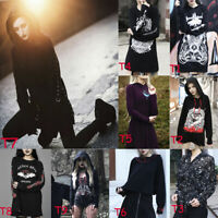 Women Trendy Gothic Punk Long Sleeve Hoodie Sweatshirt Print Tops Novelty Blouse