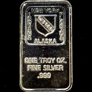 New York | Indiana | Alaska | Florida | Oxford - 1 oz 0.999 Proof Silver Bar