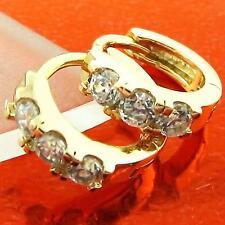 EARRINGS HUGGIE HOOP 18K YELLOW G/F GOLD SOLID DIAMOND SIMULATED FS3AN960