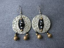 Vintage hammered silvered metal wooden & glass beads earrings with dangles