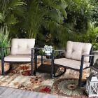 3 PC Rocker Rattan Wicker Furniture Table Chair Sofa Cushioned Patio Outdoor