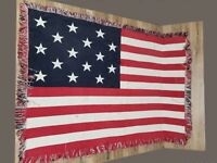 "Vintage doublesided American Flag Textile weaved wall table decoration 60"" x 42"""