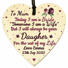 Personalised Wood Heart Plaque Mother Of The Bride Mum Daughter Wedding Gift