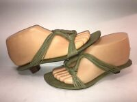 BANDOLINO SZ 6 1/2 GREEN LEATHER SLIP ON WOMEN MULES PUMPS SHOES WS11-8-3