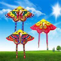 1PC Butterfly Printed Long Tail Kite Children Kids Outdoor Garden Fun ToysYFLh