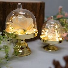 """12 Gold Clear 4"""" tall Mini Cake Stands with Dome Favor Holders Wedding Supplies"""