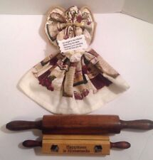 1988 Enesco Recipe Card Holder Happiness Is Homemade Wooden Rolling Pin Teatowel