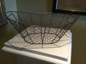 Chicken Wire Basket Oblong Metal Rustic