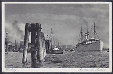 Alte AK Hamburg Hafen Ausreise des Dampfers Oceana 1937, Schiffe, gel.
