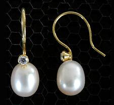 585 ECHT GOLD *** Perlen Ohrringe  Zirkonia Zuchtperlen