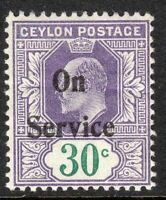 Ceylon 1903 Service dull-violet/green 30c crown CA perf 14 mint SG O27