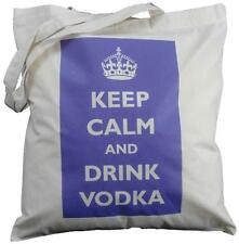Keep Calm E Bere VODKA (VIOLA) - Cotone Naturale Borsa a tracolla-TOTE shopping,