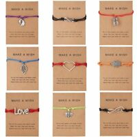 Wish String Charm Adjustable Bracelet 'Make A Wish' Friendship Heart Gift Card