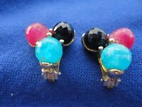 Colorful Vintage Cluster Clip On Earrings Signed Kramer Pretty Plastic Beads