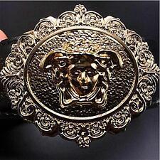 New Versace Medusa Black Leather Men's Belt Size 110CM New!!