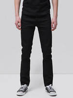 Nudie Herren Slim Fit Jeans Grim Tim Dry Black Selvage Selvedge | UVP* 199€