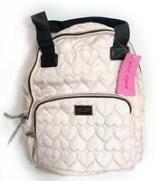BETSEY JOHNSON Backpack Quilted Hearts School Travel Nylon Light Pink NWT
