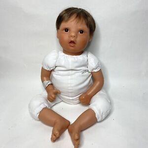 Virginia Turner 18 Inch Vinyl Baby Boy Doll Brown Eyes Brown Hair Curled Toes