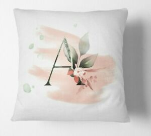 Personalised Gentle Blush Floral Pink Name Monogram Cushion Cover Case & Insert