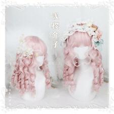 Girl Curly hair Pink Gradient Harajuku Hair Wig Kawaii Daily Involtini alla Gift