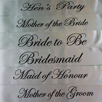 HENS NIGHT BRIDAL SASH SASHES BRIDE BRIDESMAID MAID OF HONOUR - SILVER + BLACK