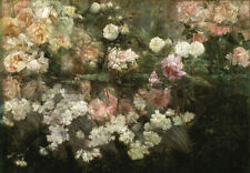 Beautiful French Provincial Garden Roses Flowers C1800s Painting Canvas Print A3