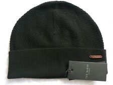 Genuine TED BAKER Black 10% Wool Fishermans Cuff BEANIE Hat Toque Tags