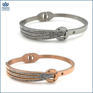 Bracciale da donna braccialetto rigido a manetta con zirconi in acciaio inox per
