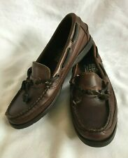 Women's Sebago Docksides Leather Shoes Size 5.5 Loafers Brown Made USA Slip Ons