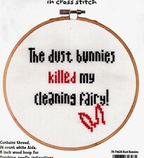 Dimensions Counted Cross Stitch Kit Say It Dust Bunnies Cleaning Fairy NIP Funny