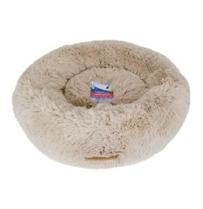 """Vibrant Life 24"""" Ultra Soft Calming Donut Pet Bed SMALL Round Cat Dog Beige NEW"""
