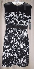 New York and Company Stretch Black and White Floral top mesh Dress size S