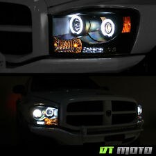 Blk 2006-2008 Dodge Ram 1500 2500 3500 LED CCFL Halo Projector Headlights 06-08