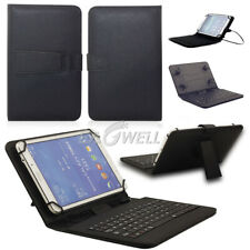 US Black Micro USB Keyboard Folio Leather Case Cover for 7'' 8 inch Tablet PC