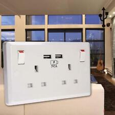 13A 2Gang Electric Wall Plug Sockets With 2USB Outlet White Double Socket USB TR