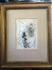 Framed etching of Toulouse-Lautrec by Salvador Dali hand signed-COA