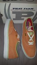 PHAT FARM CANVAS SUEDE GALLEY COOKOUT ORANGE SHOES MENS US 12 NEW IN BOX RARE