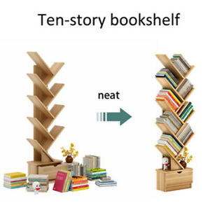 Bookshelf Wooden Tree Bookcase Storage Home Decor Display Stand Book Shelf