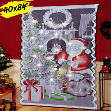 LED Lights Santa Claus Christmas Curtain Lace Window Drop Xmas Wall Decor